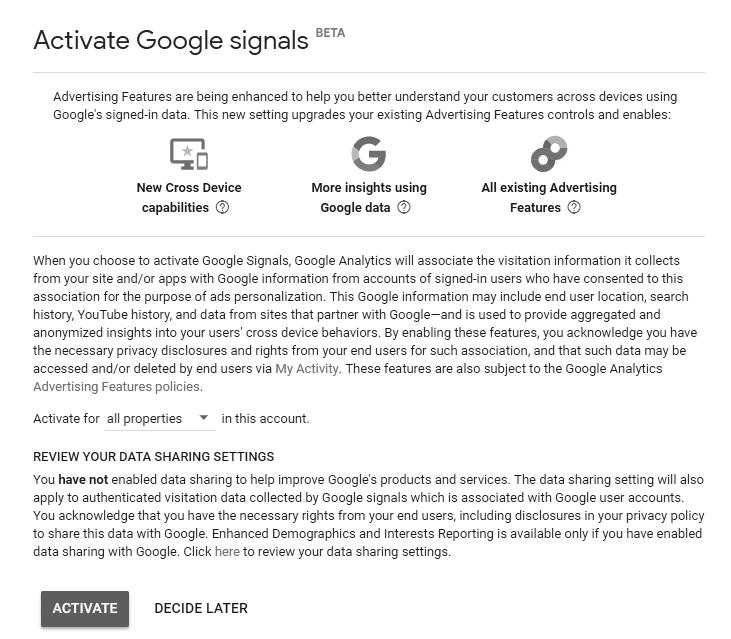 activate google signal