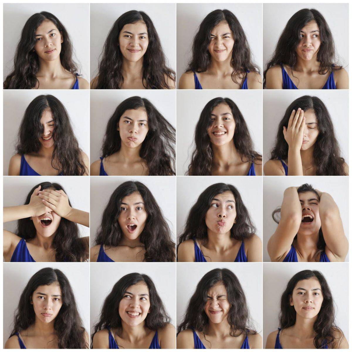 collage of portraits of cheerful woman